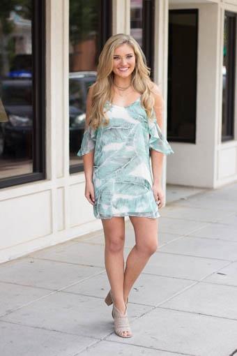 Karlie Karlie Tropical Leaf Chiffon Cold Shoulder Dress
