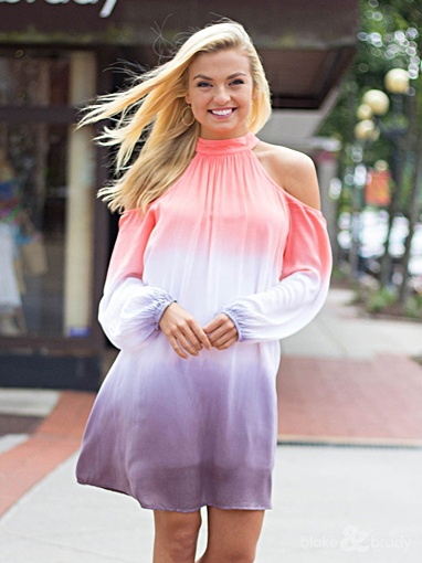 She & Sky Cold Shoulder Two Tone Ombre Tie Dye Dress