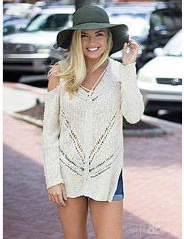 She & Sky Cold Shoulder Sweater with Criss Cross Spaghetti Strap Detail