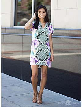 Karlie Karlie Bright Aztec V-Neck Pocket Dress
