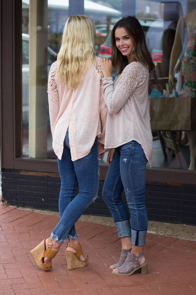 She & Sky Long Sleeve Top with Crochet Sleeve and Back Detail