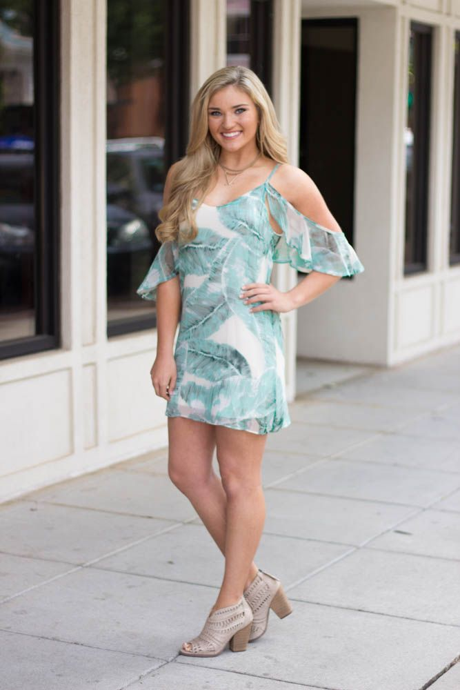 Karlie Karlie Tropical Leaf Chiffon Cold Shoulder Dress