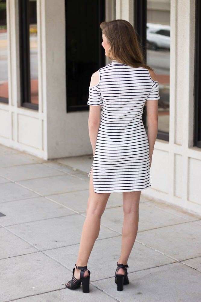 She & Sky Cold Shoulder Striped Fitted Tunic