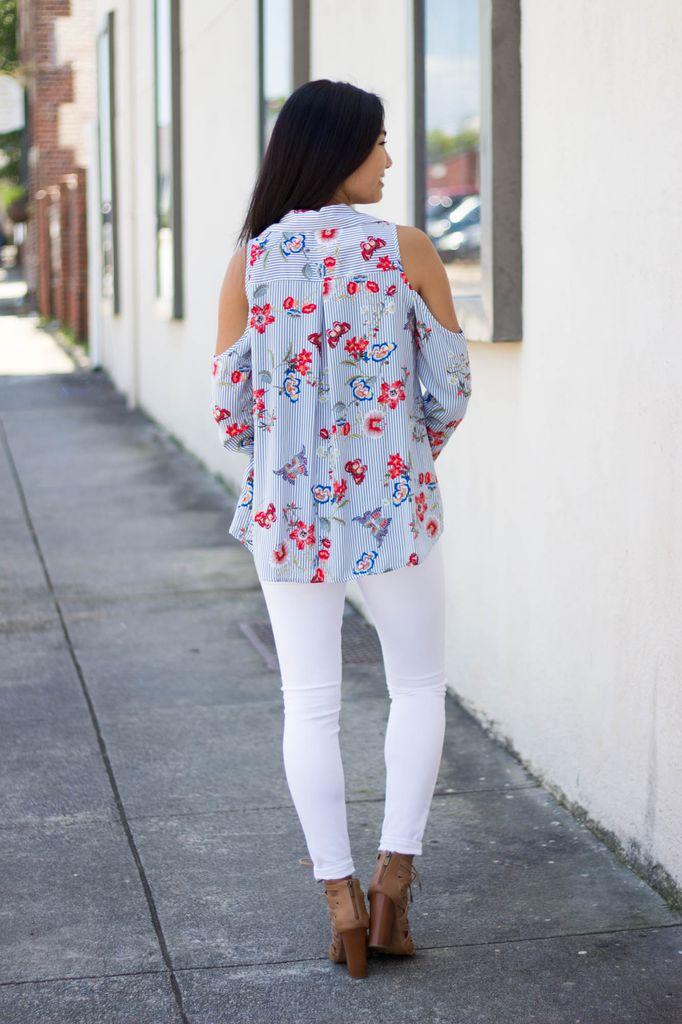 Karlie Karlie Novelty Stripe and Floral Cold Shoulder Button Up Blouse
