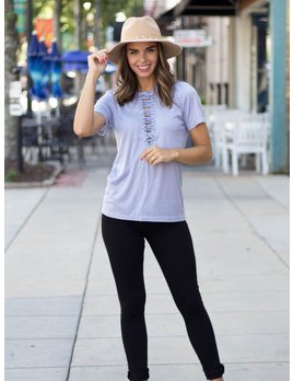 She & Sky Ribbed Top with Front Lace-Up Detail