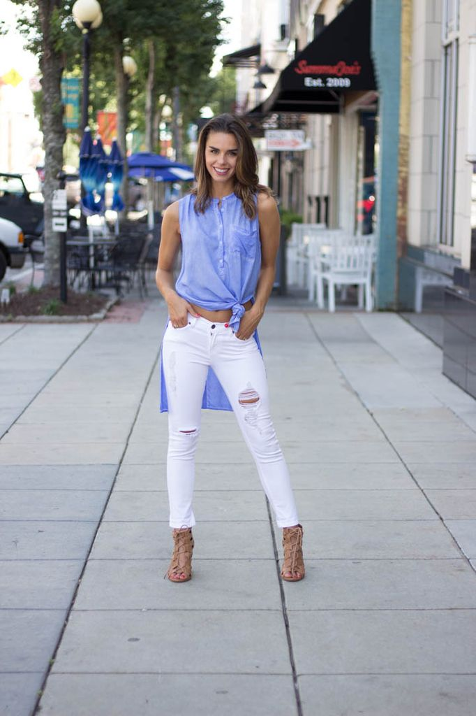 She & Sky High Low Pigment Washed Top with Back Placket