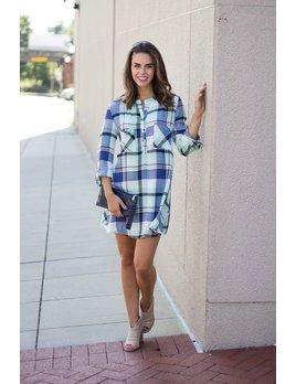 She & Sky 3/4 Sleeve Plaid Tunic Dress