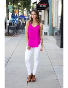Very J V-Neck Tank with Split Sides