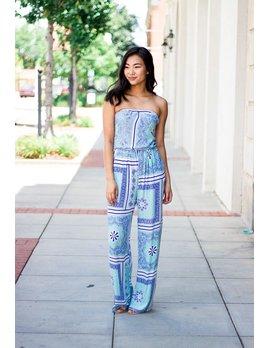 Karlie Karlie Bustier Scarf Print Jumpsuit