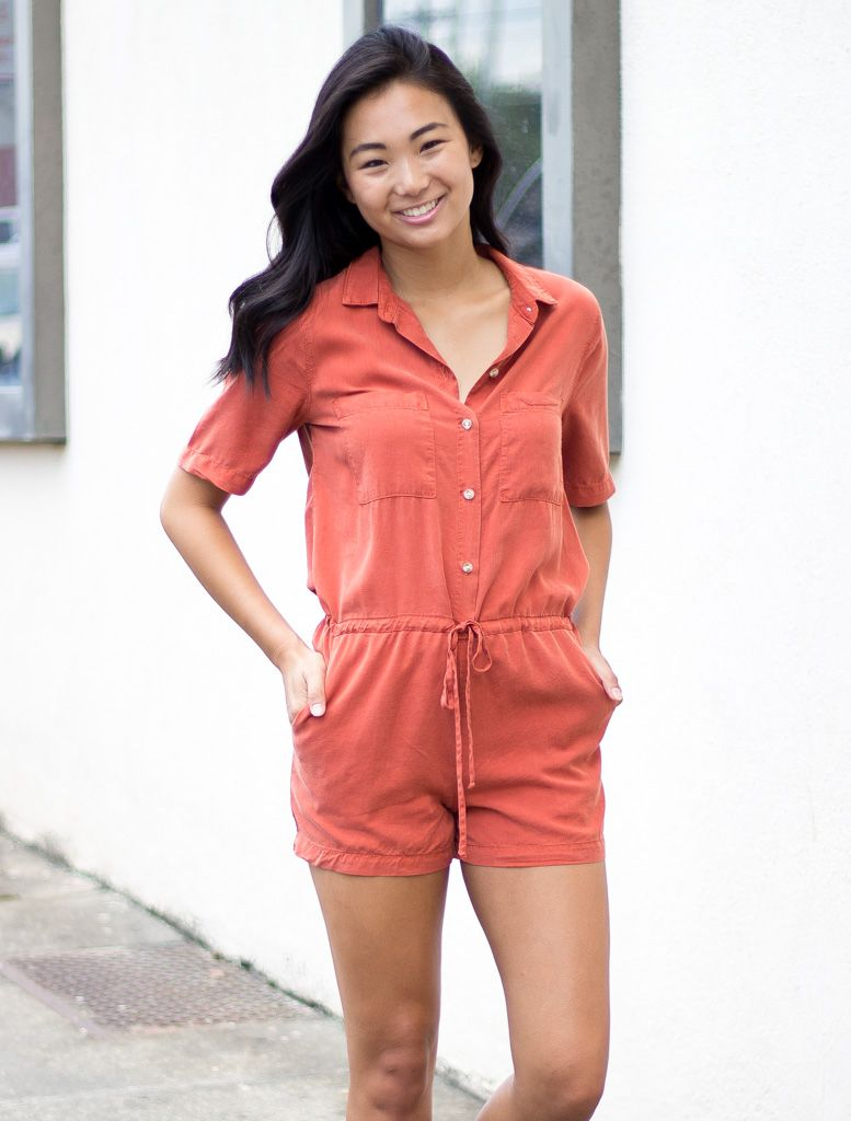 Glam Safari Tencel Drawstring Romper
