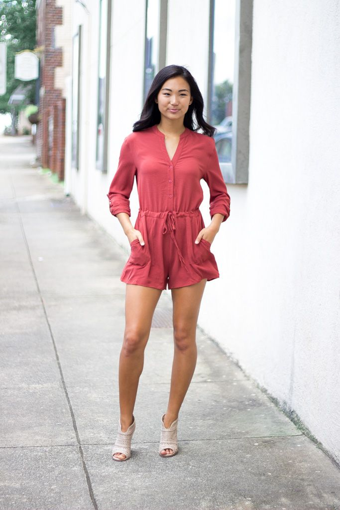 She & Sky Roll Sleeve Button Down Romper