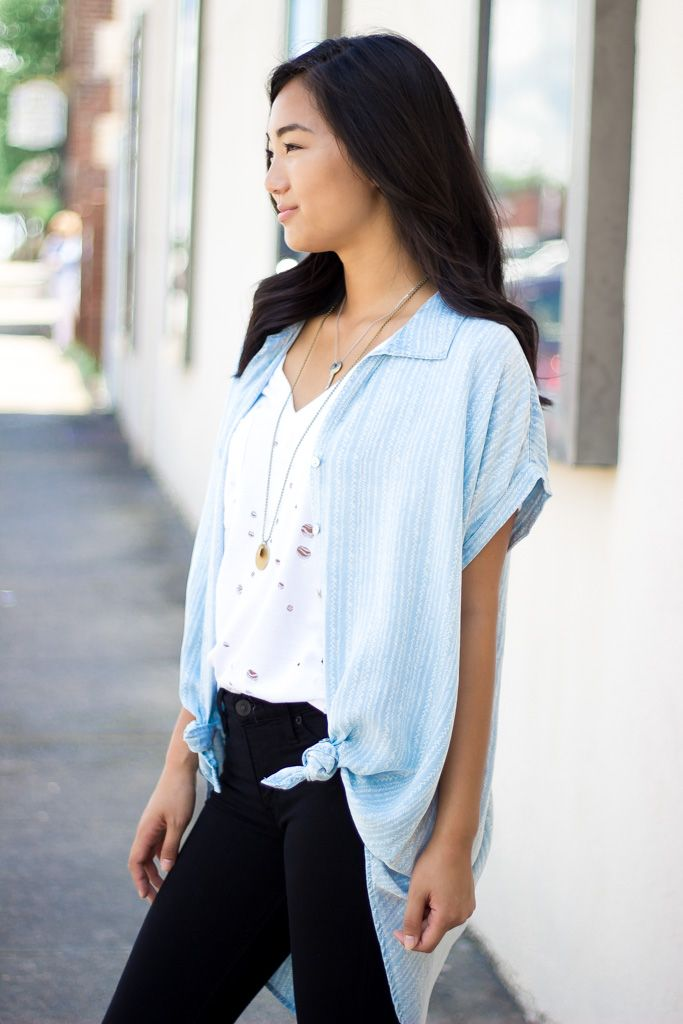 Karlie Karlie Novelty Denim Button Up Blouse