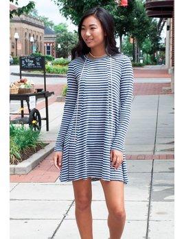 BCBGeneration BCBGeneration Striped Open Back A-Line Dress