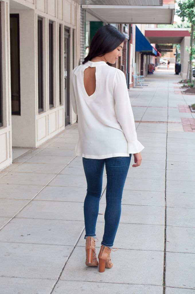 She & Sky Flared Sleeve Top with Keyhole Detail