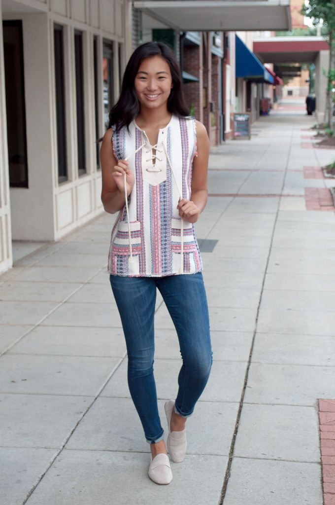 Karlie Karlie Boho Stripe Pocket Lace Up Tunic