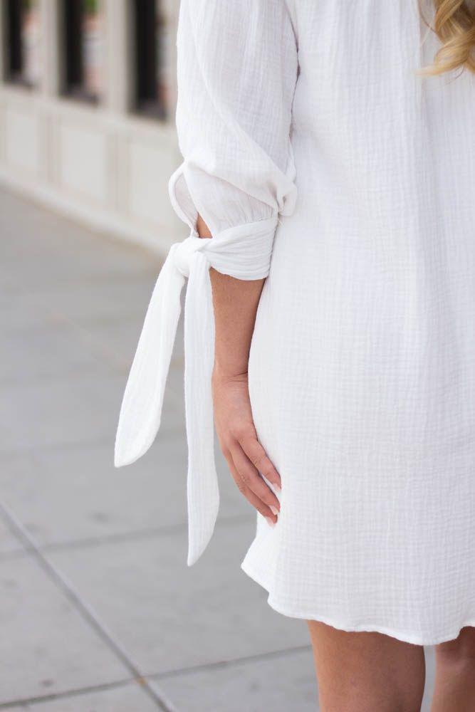 Karlie Karlie Gauze Off Shoulder Knot Sleeve Bustier Dress