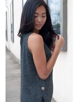 Button Side Sleeveless Sweater