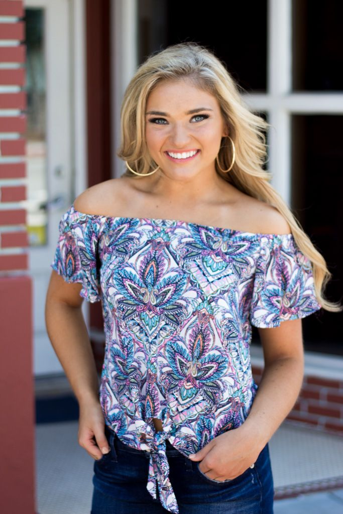 Karlie Karlie Multi Paisley Off Shoulder Knot Top