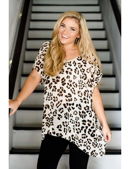 By Together Leopard Short Sleeve V-Neck Tunic