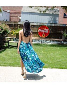 Karlie Tropical Chiffon Leaf Halter Maxi Dress