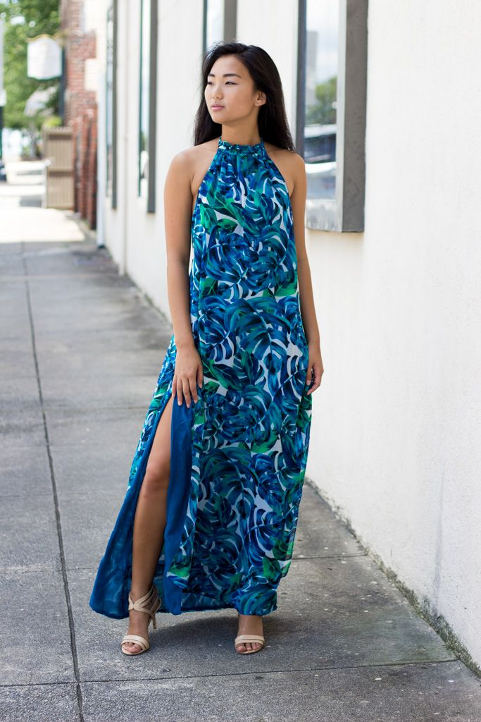 Karlie Karlie Tropical Chiffon Leaf Halter Maxi Dress