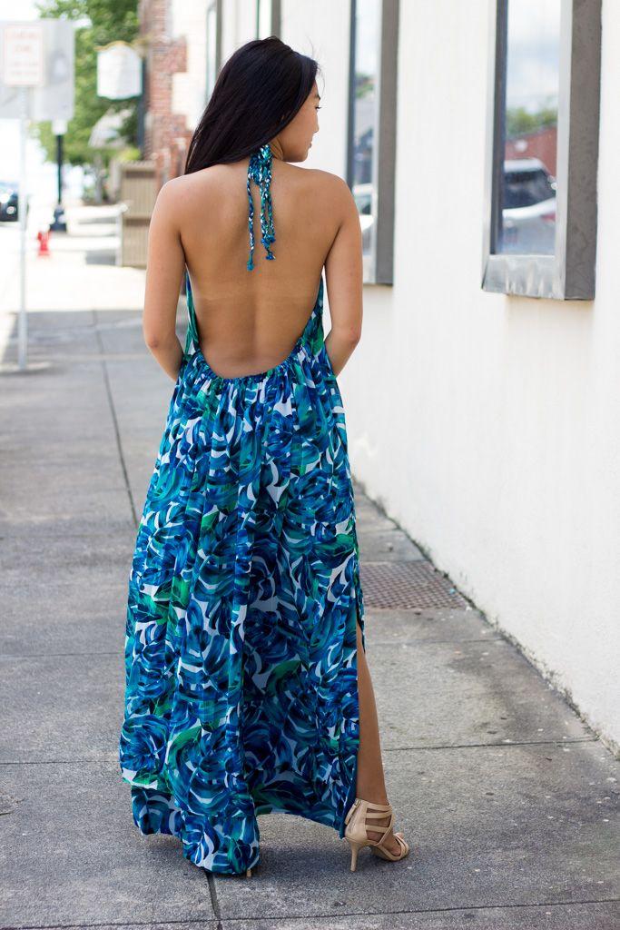 Karlie Karlie Tropical Chiffon Leaf Halter Maxi Dress