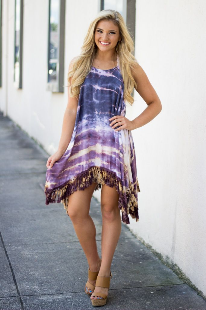 By Together Tie Dye Tassel Trim Sharkbite Dress