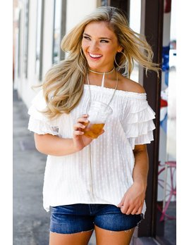 Karlie Karlie Swiss Dot Off Shoulder Top