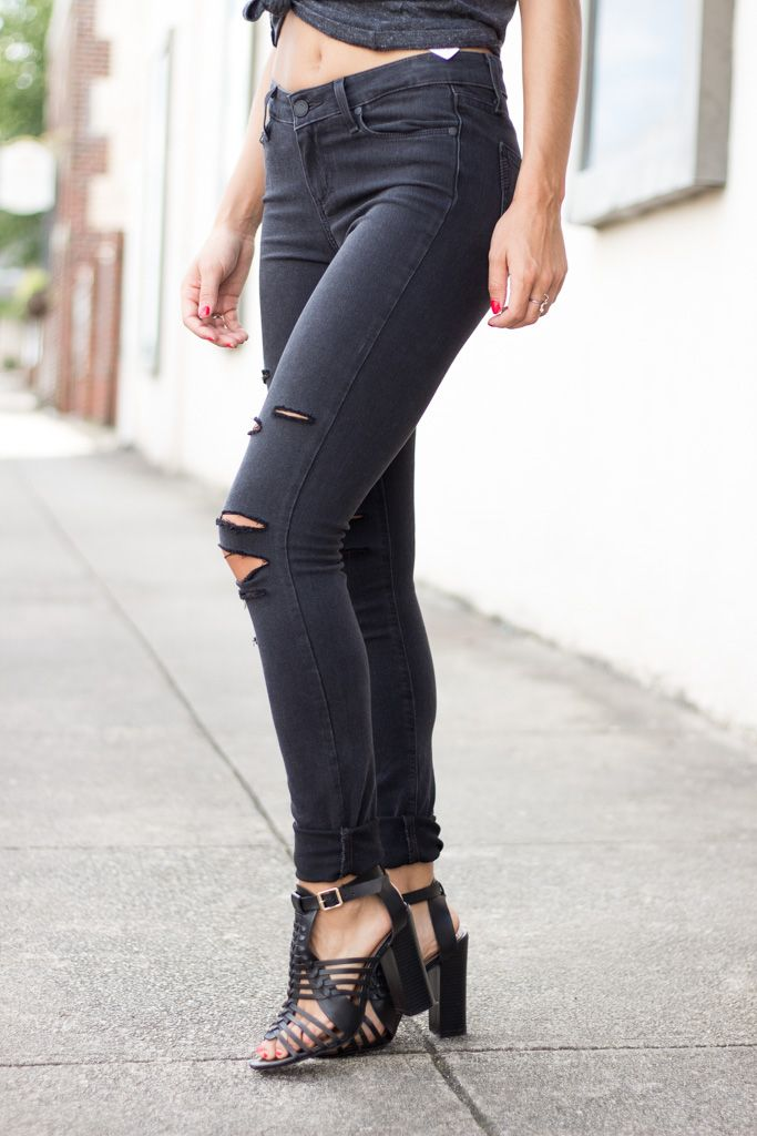 Paige Paige Verdugo Ultra Skinny in Black Fog Destructed