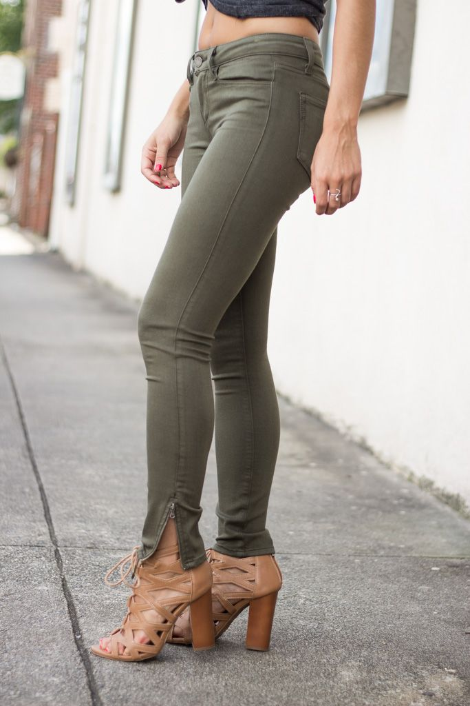 Paige Shay Zip Ankle in Olive Leaf