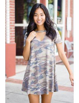 Karlie Karlie Camo V-Neck Choker Knit Dress