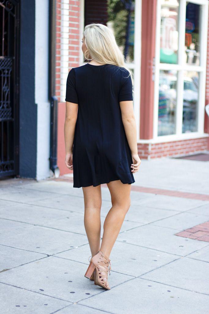 Karlie Karlie Solid Choker V-Neck Oversized Knit Dress