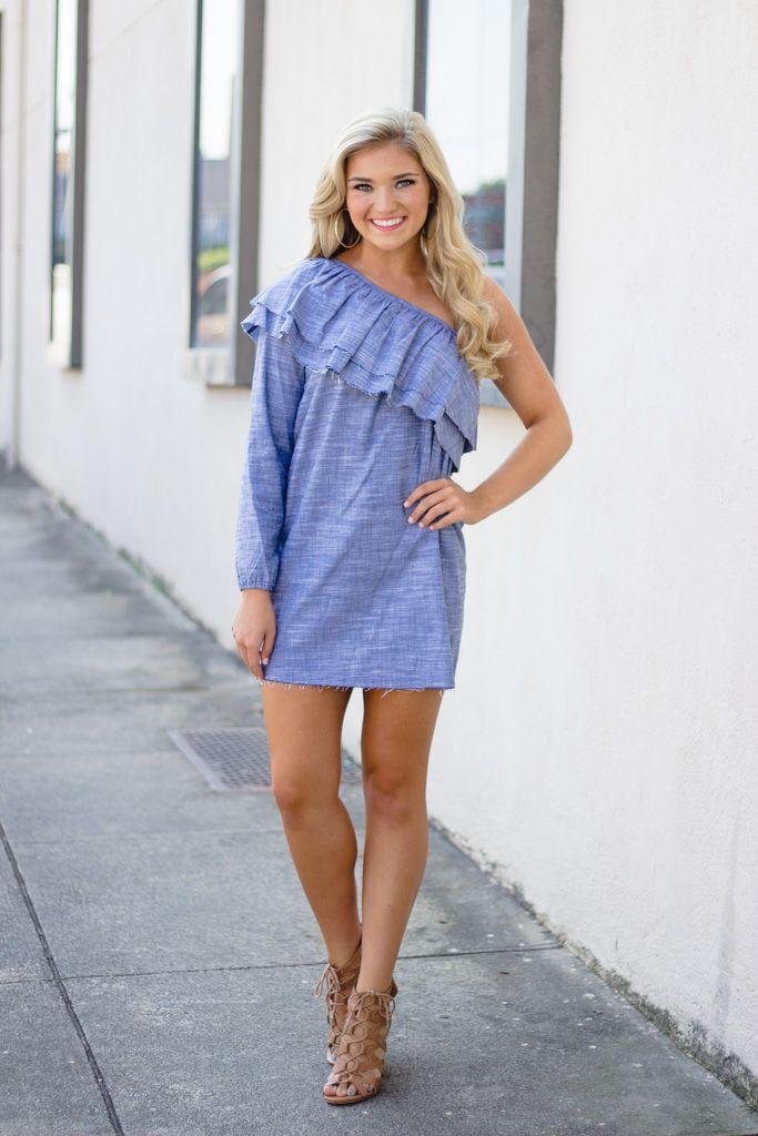 Karlie Karlie Washed Chambray Ruffle One Shoulder Dress