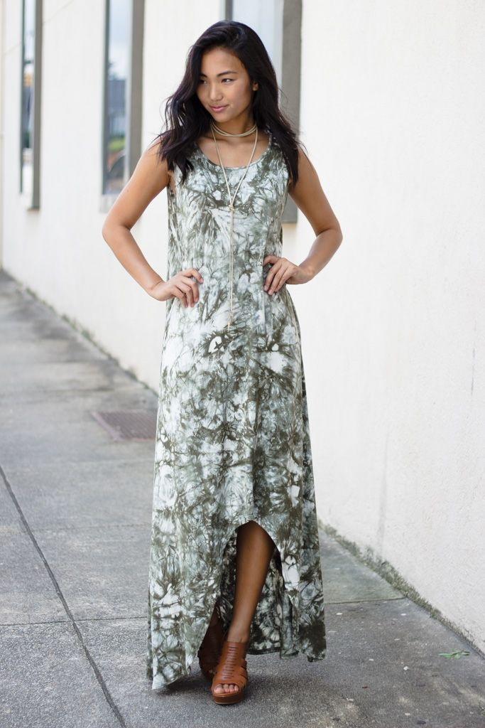 Tie-Dye High-Low Knit Maxi Dress