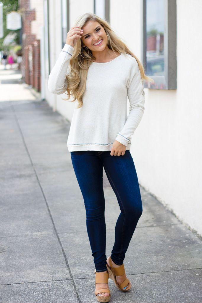 Hem & Thread Lace Up Sleeve Sweatshirt