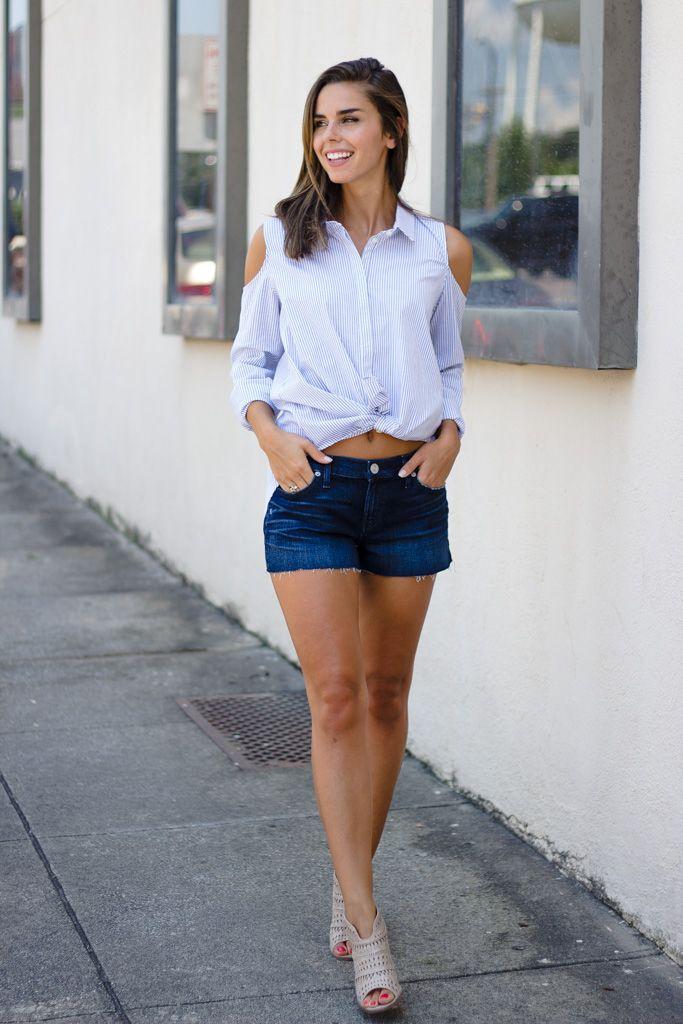 Karlie Karlie Stripe Cold Shoulder Button Up Blouse