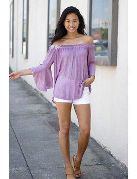 She & Sky Bell Sleeve Off Shoulder Pigment Washed Top