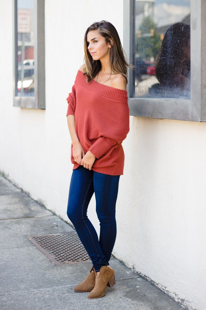 TCEC Off Shoulder Ribbed Neck Sweater