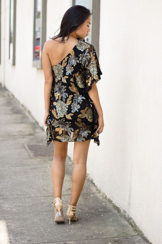 Karlie Karlie Floral Sequin One Shoulder Dress