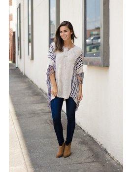 Hem & Thread Fringe Lace Up Sweater Poncho