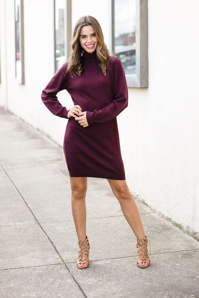 She & Sky Turtleneck Bodycon Sweater Dress