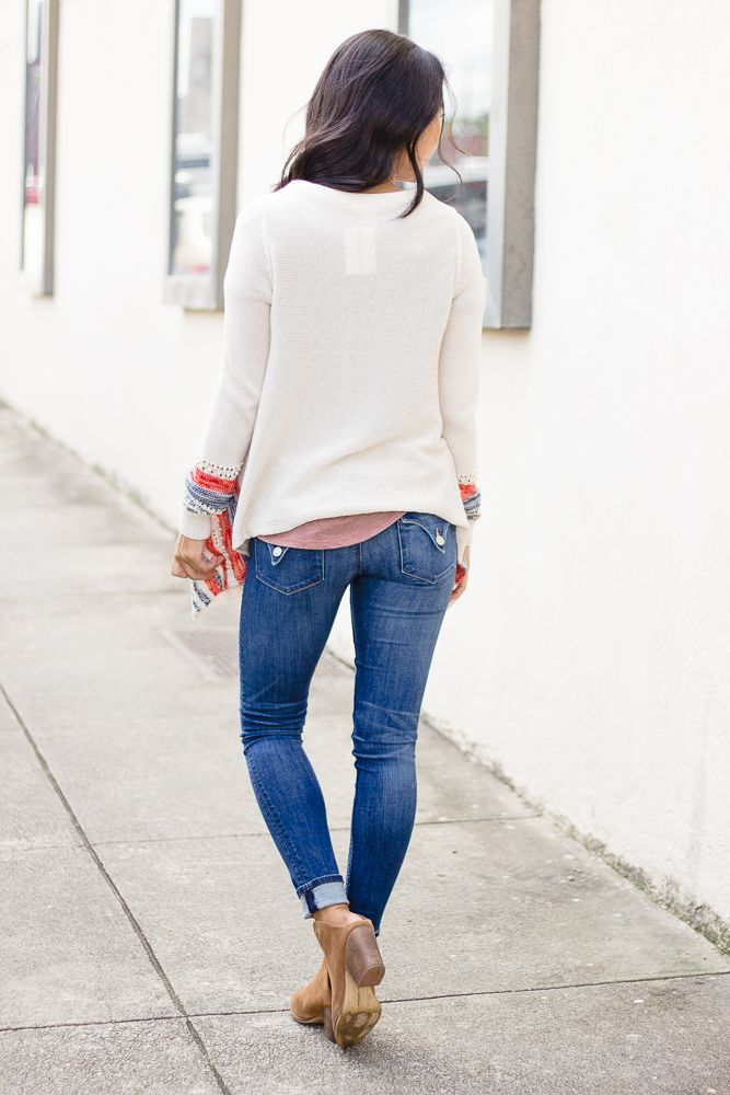 Hem & Thread Stripe Bottom Open Sweater Cardigan