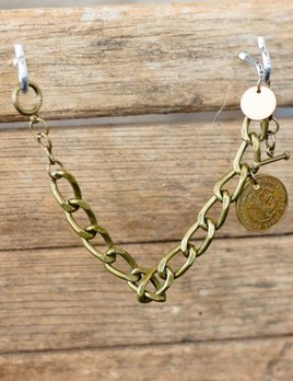 World Links 1 Coin Bracelet in Antique Gold