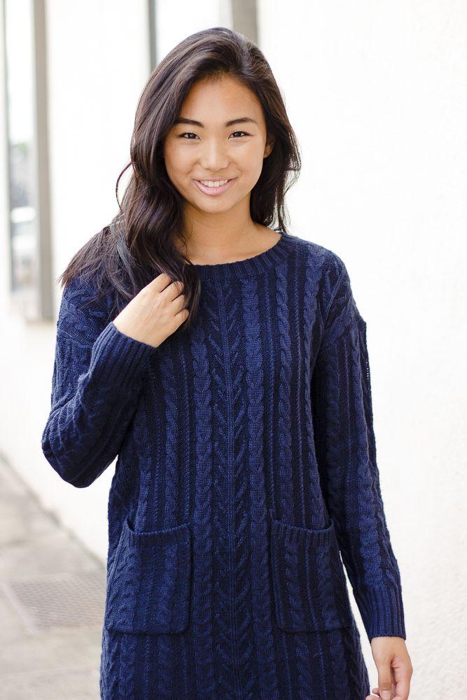 Very J Dual Pocket Sweater Dress