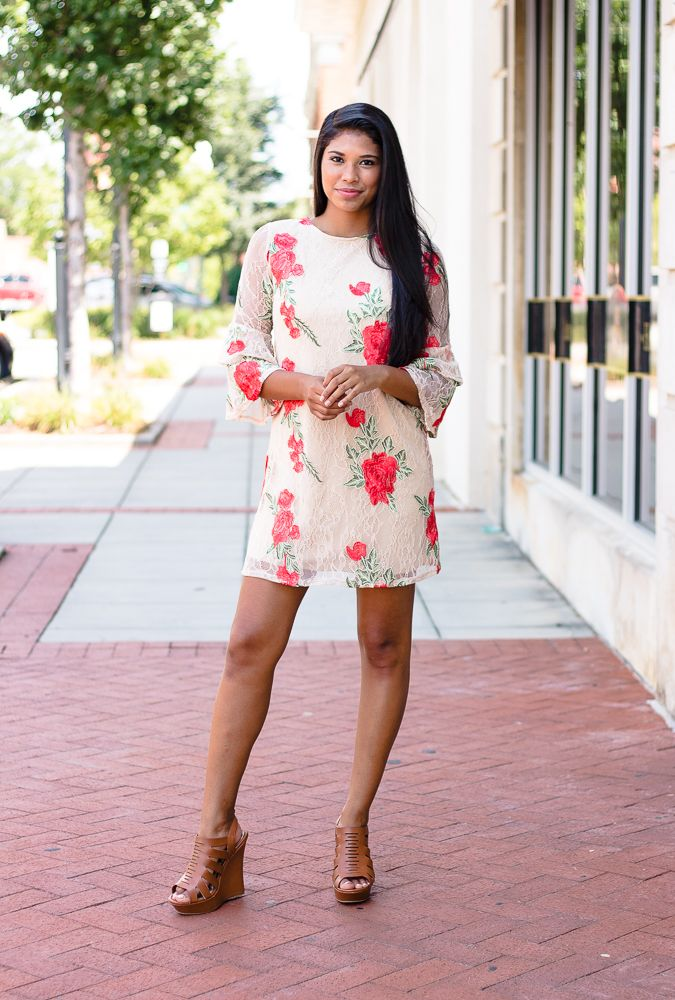 Karlie Lace Rose Embroidered Tier Sleeve Dress