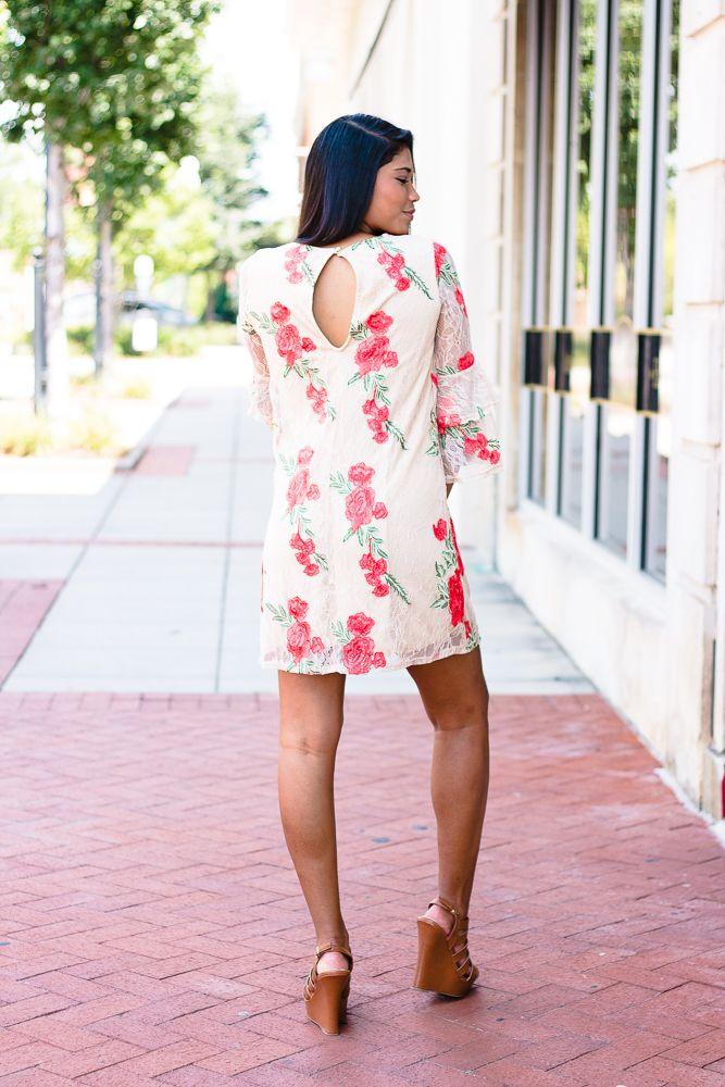 Karlie Karlie Lace Rose Embroidered Tier Sleeve Dress