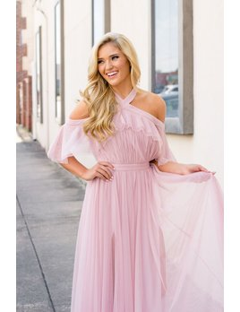 Karlie Solid Tulle Cold Shoulder Halter Cape Dress