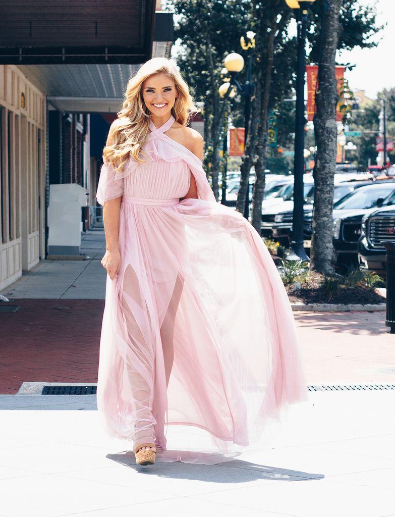 Karlie Solid Tulle Cold Shoulder Halter Cape Dress