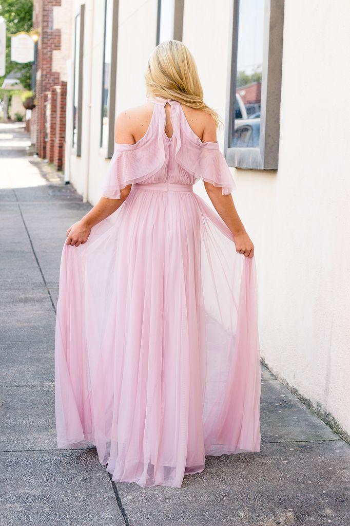 Karlie Karlie Solid Tulle Cold Shoulder Halter Cape Dress