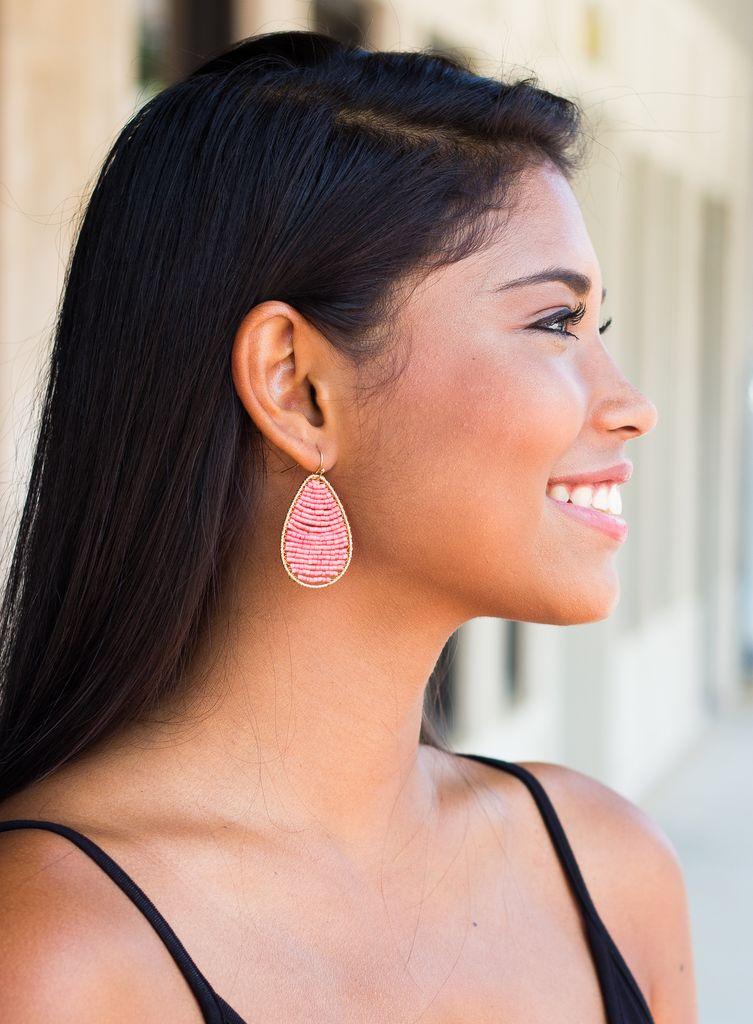Bead Filled Teardrop Earrings
